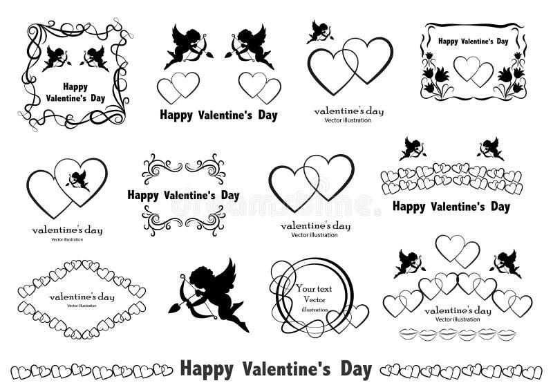 Graphic design elements. Vintage Valentine`s Love Set in vector. stock illustration
