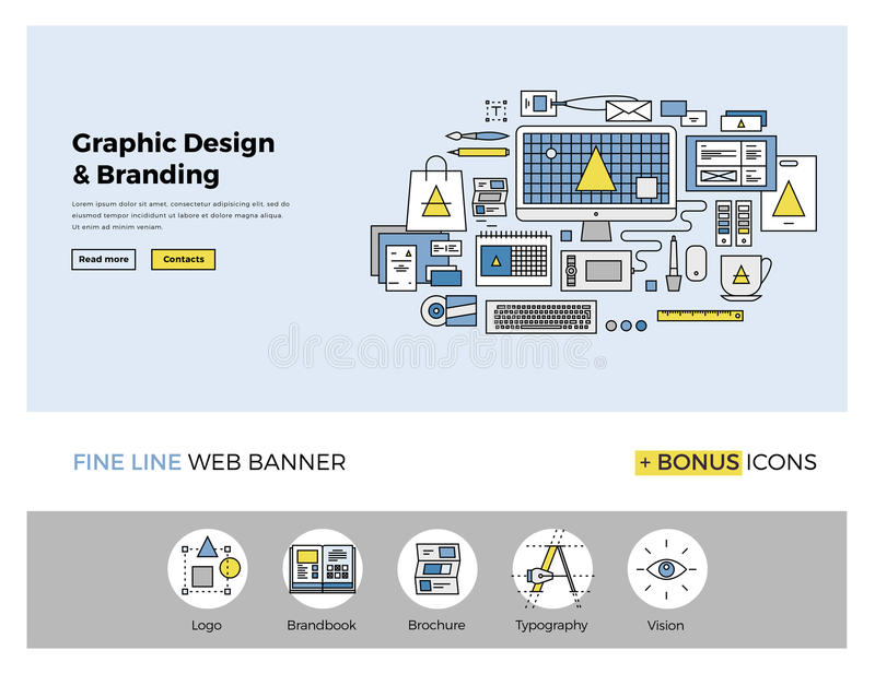 Graphic design flat line banner. Flat line design of web banner template with outline icons of digital agency graphics services for company vision and brand stock illustration