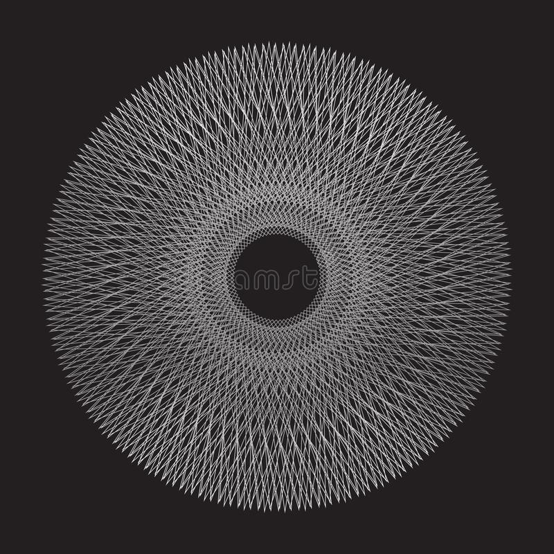 Graphic design in the form of beautiful intersections of lines and circles abstraction. The effect of the line and spirograph form royalty free illustration