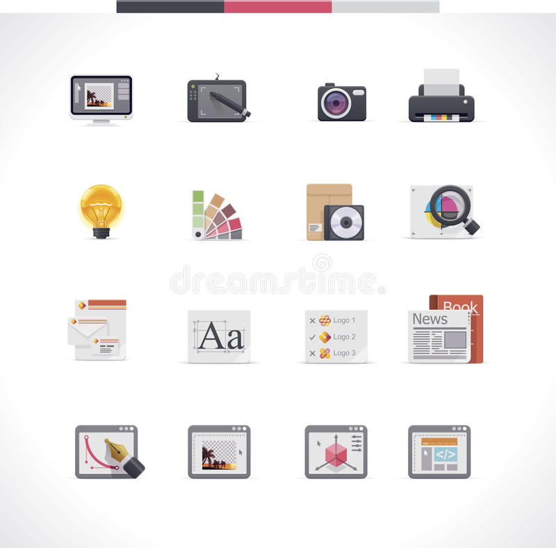 Graphic design icon set. Set of the graphic design services related icons