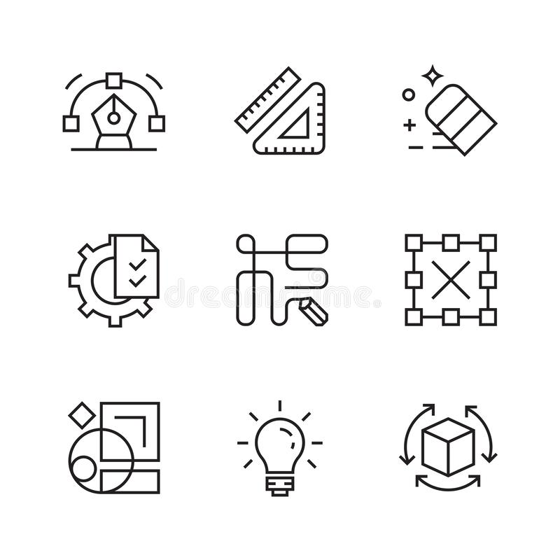 Graphic Design Icons. Flat Line Icons with Doodle Style. Trendy and Youthful royalty free illustration