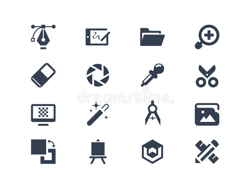 Graphic design icons. Isolated on white royalty free illustration
