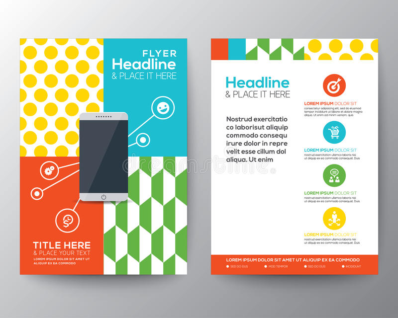Graphic Design Layout with smart phone concept template. Trendy Graphic Design Layout with smart phone concept vector template for flyer brochure leaflet poster vector illustration