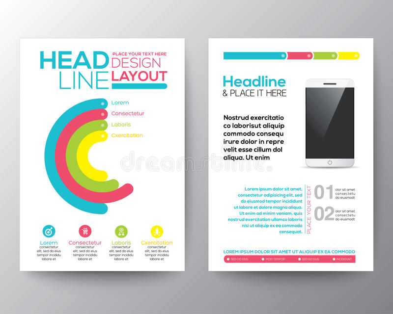 Graphic Design Layout with smart phone concept template. Graphic Design Layout with smart phone concept vector template for flyer brochure leaflet poster royalty free illustration