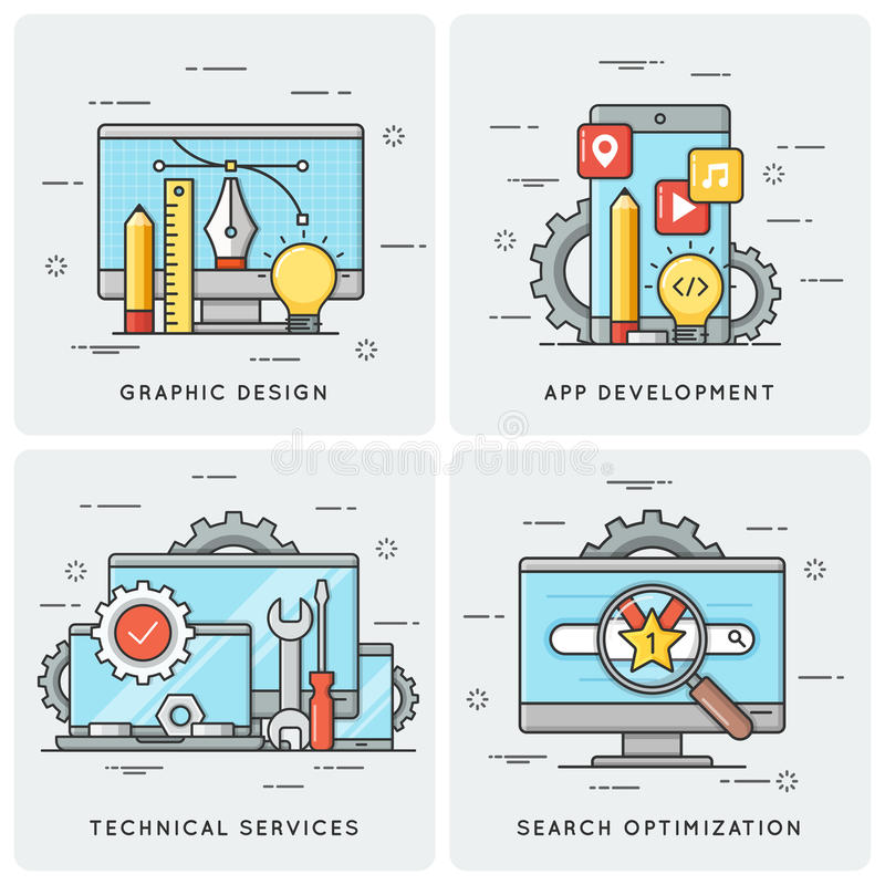 Graphic design. Mobile app development. Technical services. SEO royalty free illustration