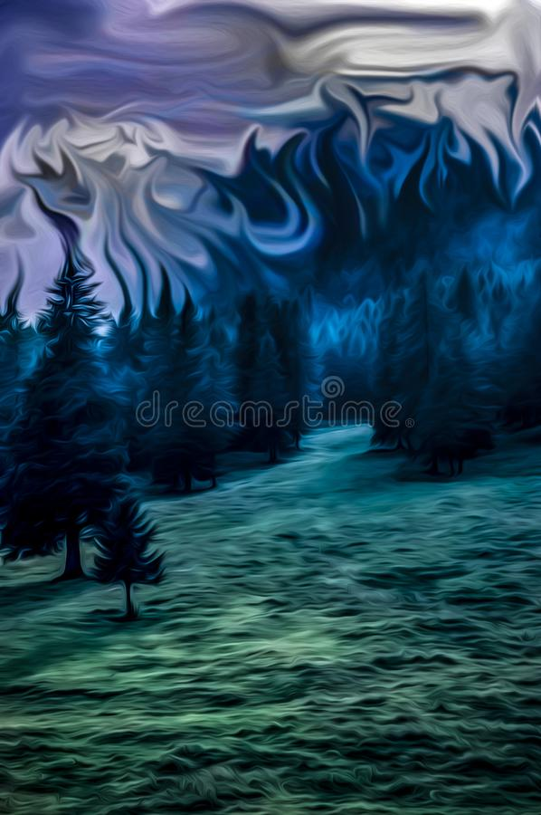 Graphic design of mysterious woods landscape royalty free illustration
