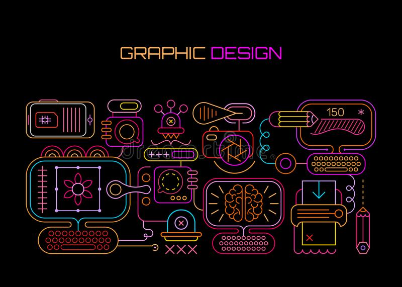 Graphic Design neon royalty free illustration