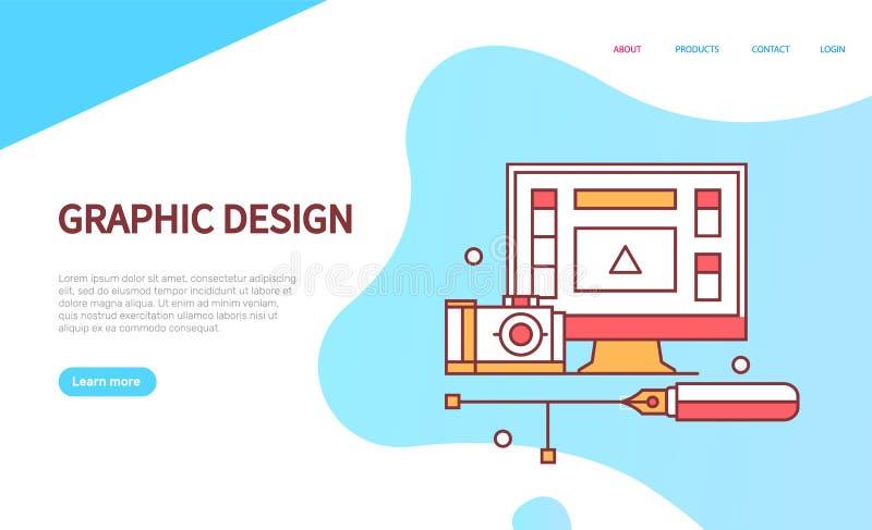 Graphic Design Online Web Page, Modern Technology vector illustration