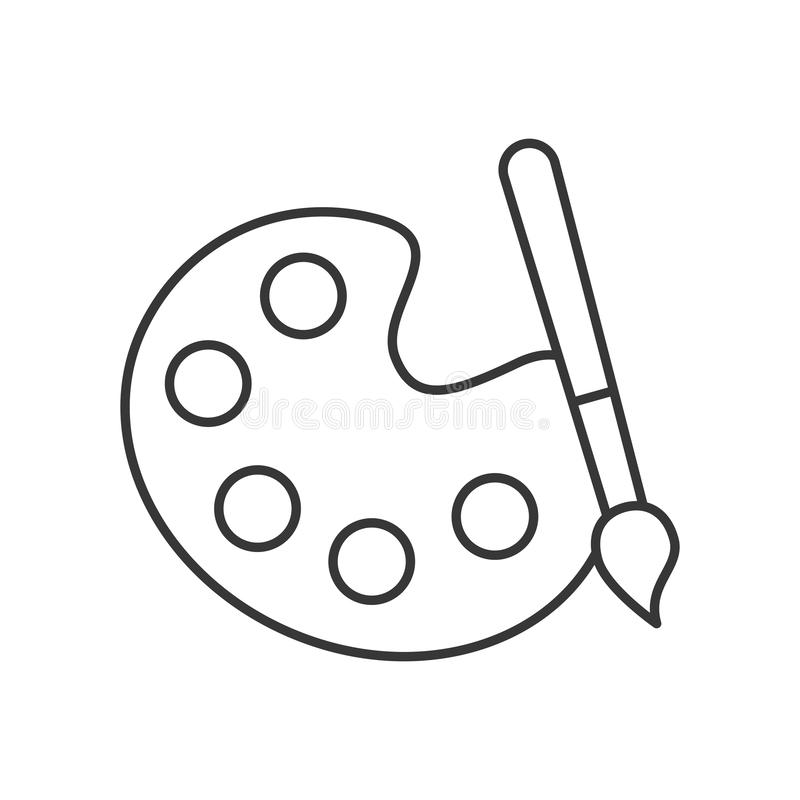 Graphic design palette color paint brush. Vector illustration thin line stock illustration