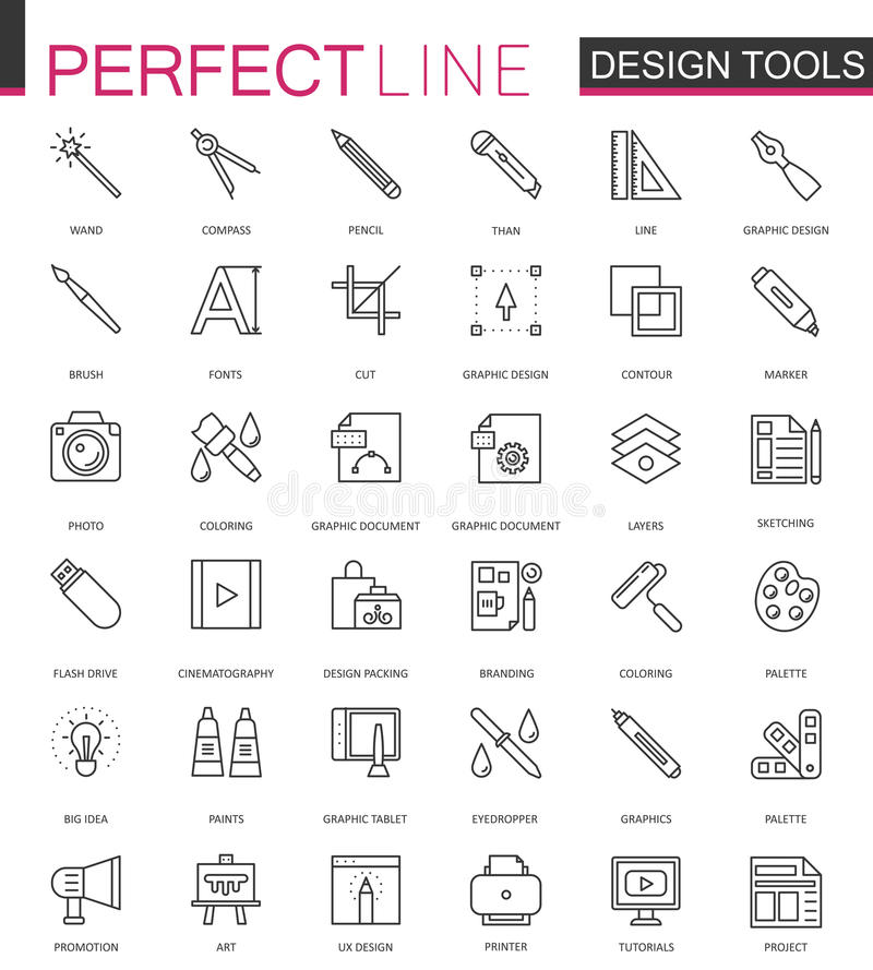 Graphic design program tools palettes. Thin line web icons set. Interface outline stroke icon design. Graphic design program tools palettes. Thin line web icons royalty free illustration