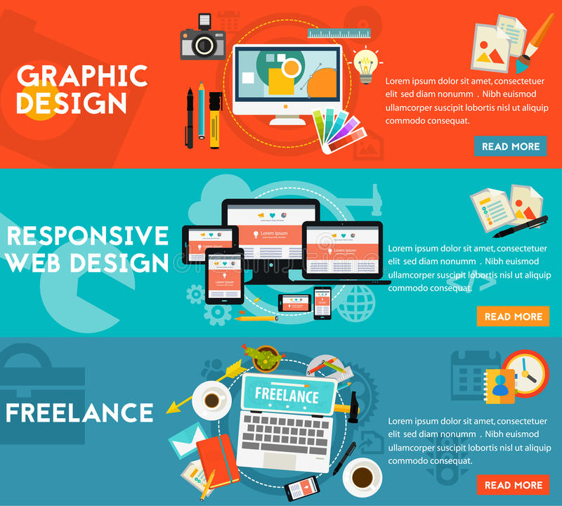 Graphic Design , Responsive Webdesign and Freeance Concept. Graphic and responsive webdesign, freelance concept. Horizontal banners royalty free illustration