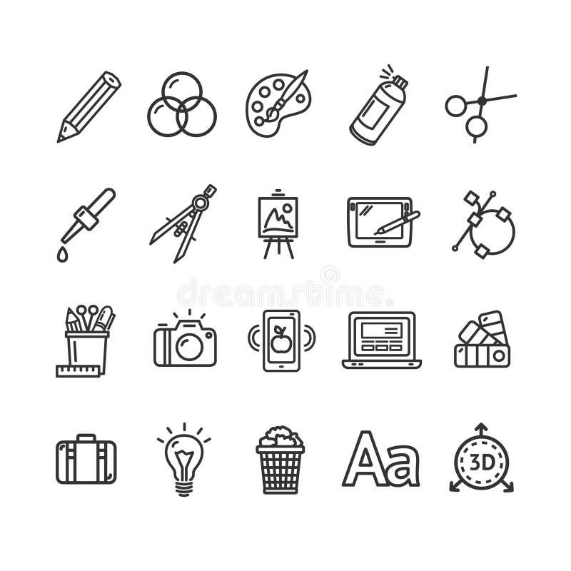 Graphic Design Signs Black Thin Line Icon Set. Vector stock illustration