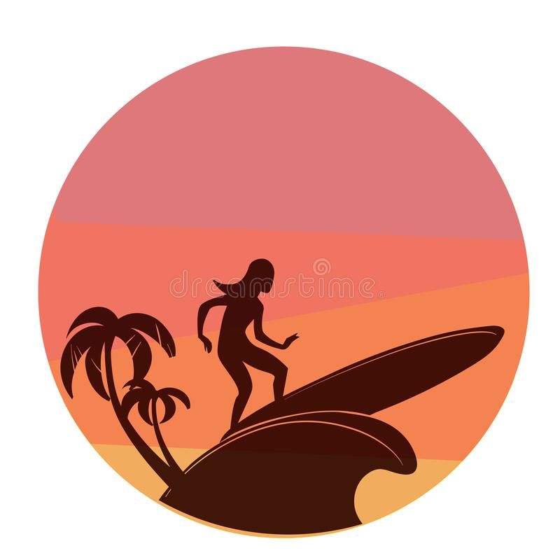 Silhouette of surfing young woman with colorful sunset on background royalty free stock photography