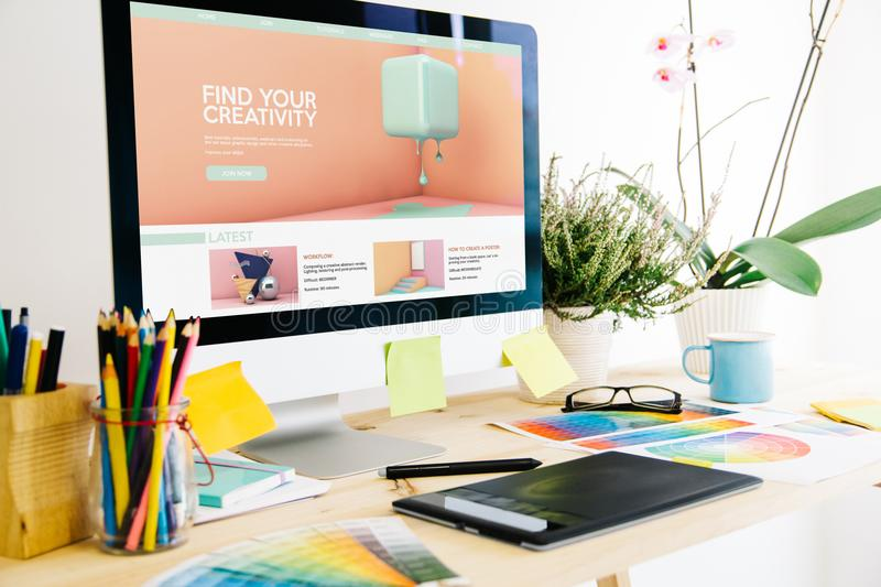 Graphic design studio creativity tutorials website. Graphic design studio creativity tutorials royalty free stock photography