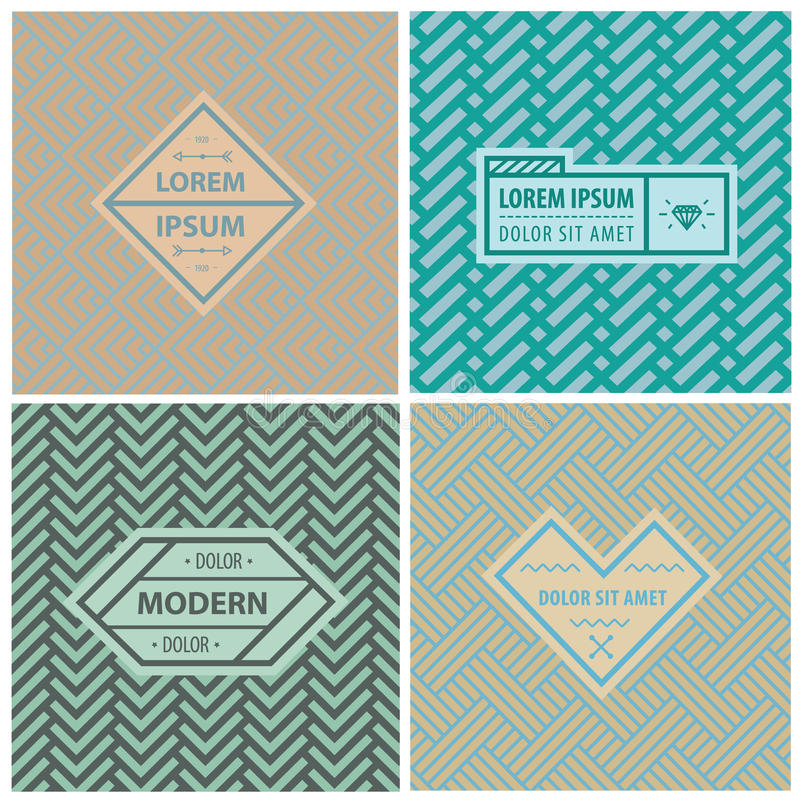 Graphic Design Templates for Logo, Labels and Badges. Abstract Line Patterns Backgrounds. Seamless patterns with geometric abstract shapes vector illustration