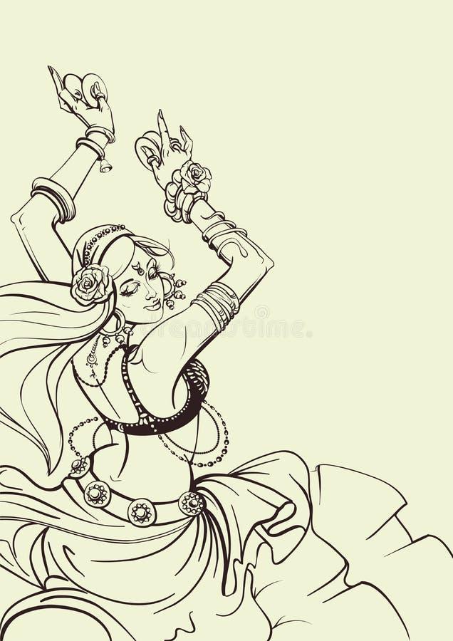 Tribal Fusion bellydance dancer contour graphic design stock illustration