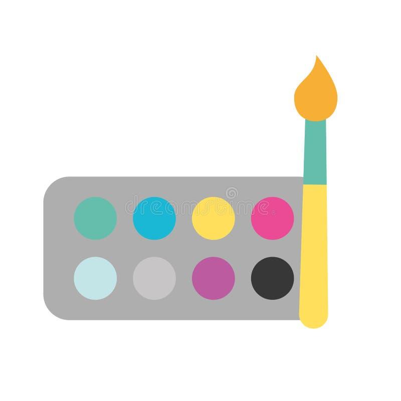 Graphic design watercolor palette color brush. Vector illustration stock illustration