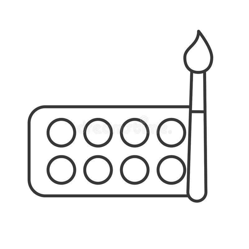 Graphic design watercolor palette color brush. Vector illustration thin line stock illustration
