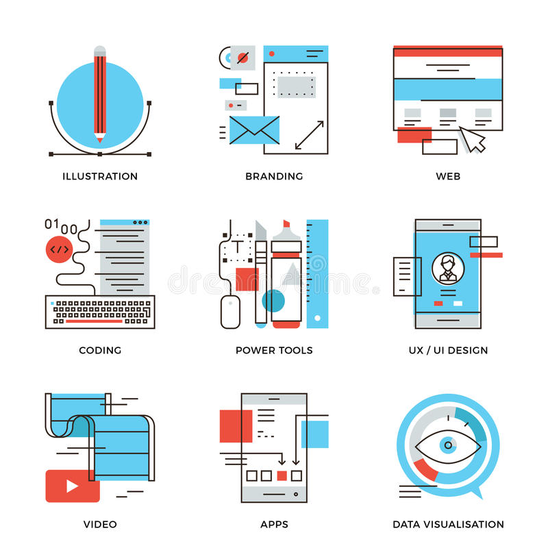 Graphic design and web development line icons set stock illustration