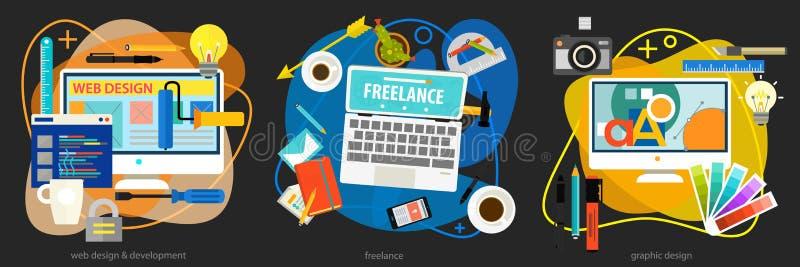 Graphic Design , Webdesign, Development And Freeance Concept. Graphic design, webdesign and development, freelance concept. Horizontal banner stock illustration