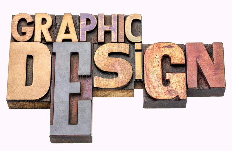 Graphic design word abstract in wood type. Graphic design - isolated word abstract in vintage letterpress wood type blocks, mixed fonts royalty free stock images