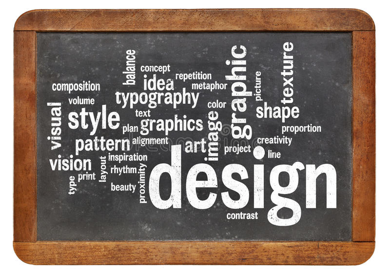 Graphic design word cloud. On a vintage slated blackboard stock photos