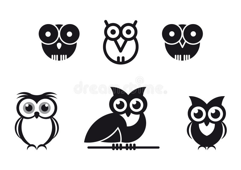Graphic designed owls stock illustration