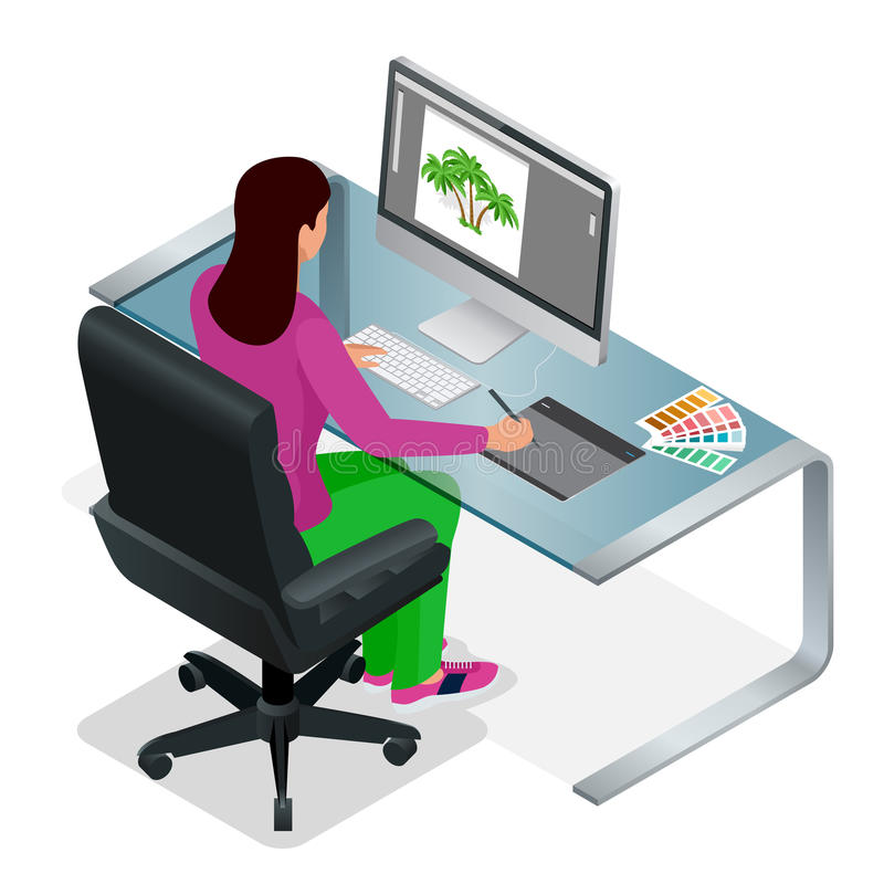 Graphic designer or artist at work. Drawing something on graphic tablet at the office. stock illustration