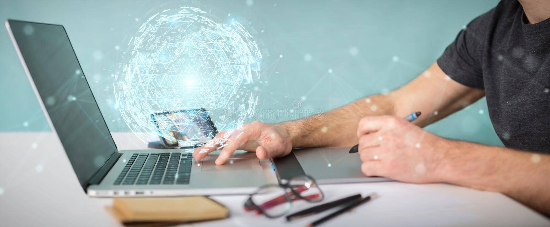 Graphic designer using digital triangle exploding sphere hologram 3D rendering royalty free illustration
