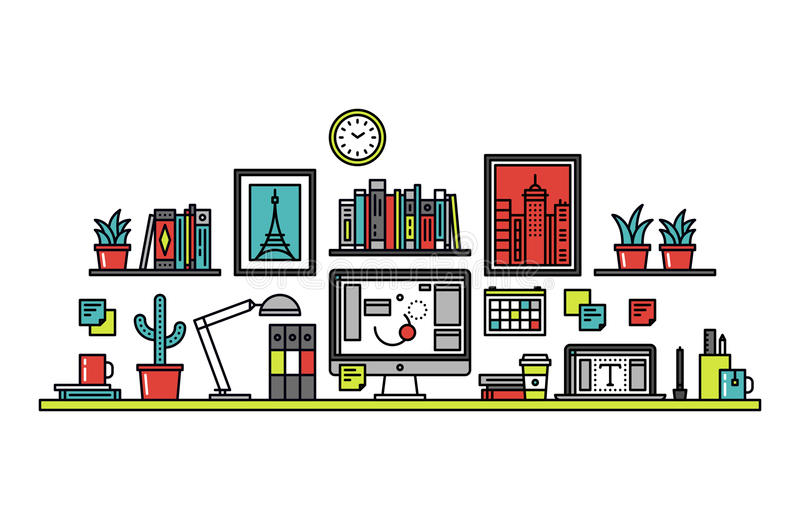 Graphic designer desk line style illustration stock illustration