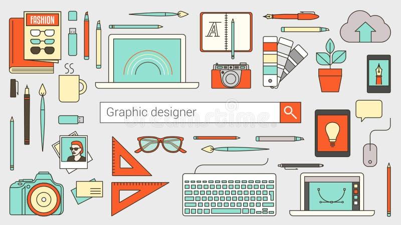 Graphic designer, illustrator and photographer stock illustration
