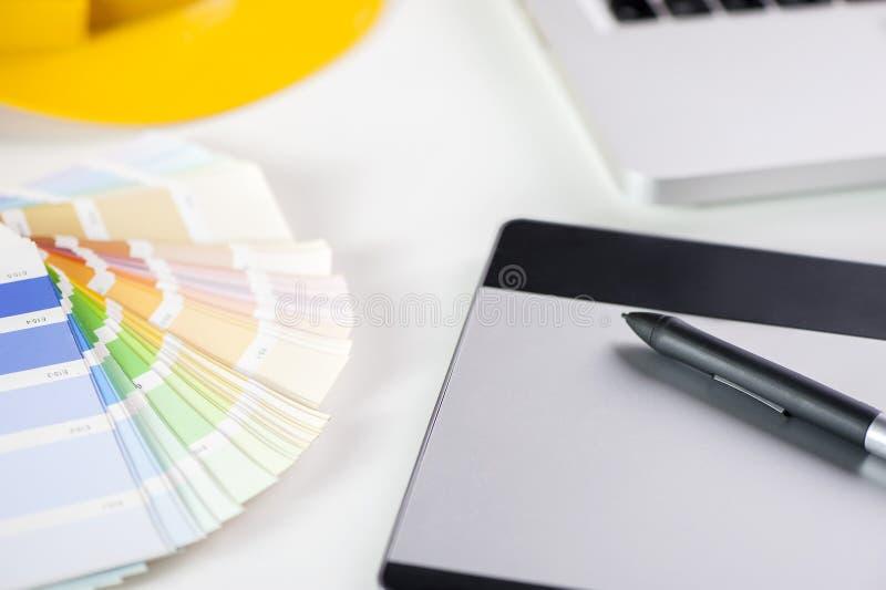 Graphic designer. Graphic tablet designer setting. Design concept stock photos