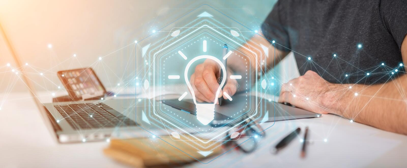 Graphic designer using lightbulb idea interface 3D rendering vector illustration
