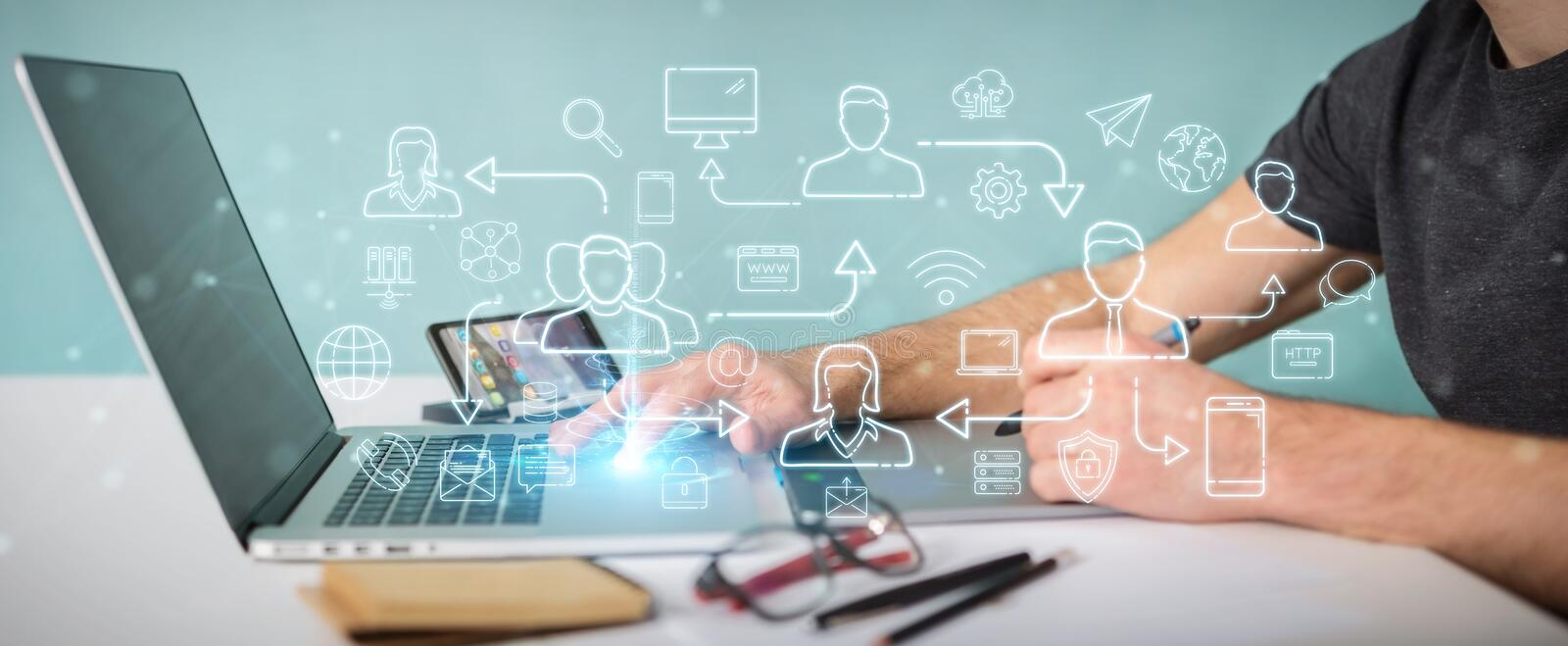 Graphic designer using thin line social network icons interface. Graphic designer on blurred background using thin line social network icons interface stock illustration