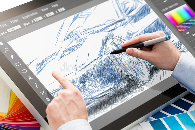 Graphic designer at work. Color samples. Designer graphic drawing car creative creativity draw work tablet screen sketch designing coloring concept - stock stock image
