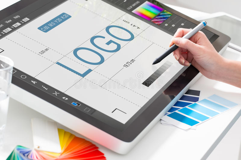 Graphic designer at work. Color samples. Logo design brand designer sketch graphic drawing creative creativity draw studying work tablet concept - stock image royalty free stock photography