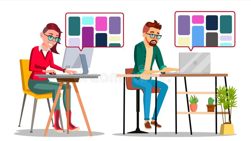 Graphic Designer At Work Vector. Man, Woman Searching For References On Popular Creative Web Site. Freelance Concept royalty free illustration