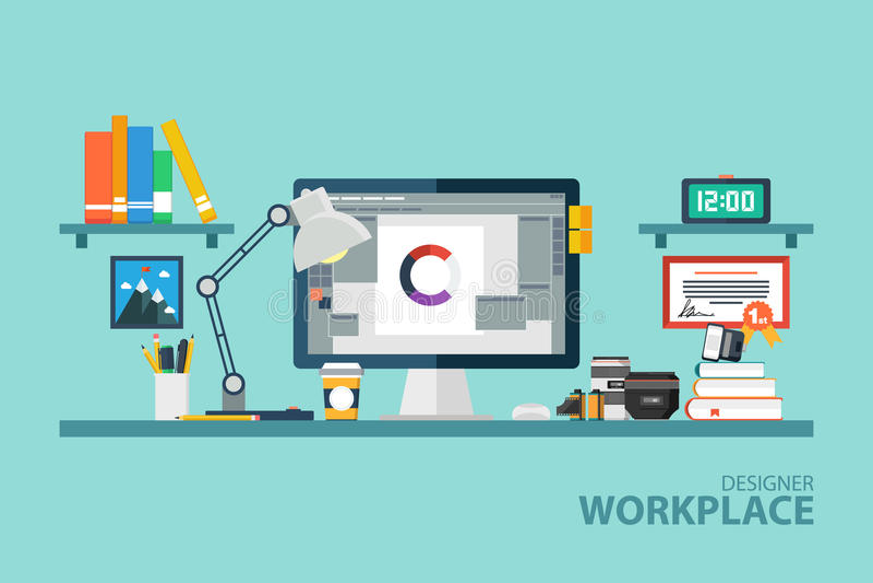 Graphic designer workplace flat design vector illustration. vector illustration