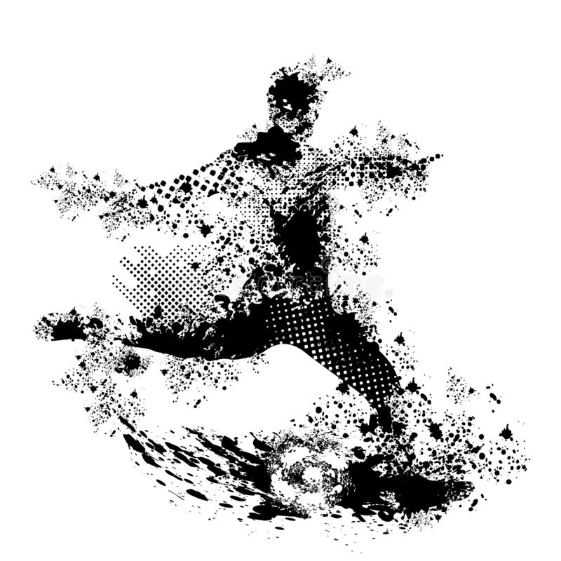 Grunge soccer vector and png transparency. Graphic designs with grunge and halftone effect, concept is soccer players, match for background, wallpaper and stock illustration