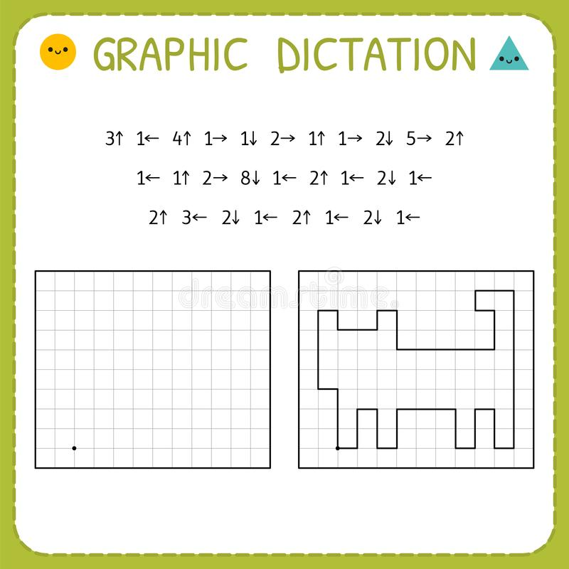 Graphic dictation. Cat. Kindergarten educational game for kids. Preschool worksheet for practicing motor skills. Working pages for vector illustration