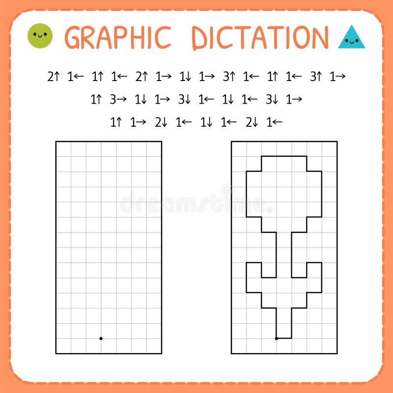 Free Graphic Dictation. Flower. Kindergarten Educational Game For Kids. Preschool Worksheet For Practicing Motor Skills. Working Pages Stock Photo - 148769370