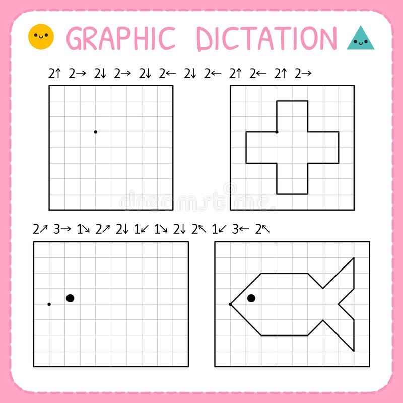 Free Graphic Dictation. Kindergarten Educational Game For Kids. Preschool Worksheets For Practicing Motor Skills. Working Pages For Stock Image - 148768811