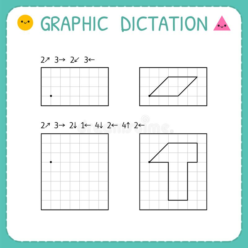 Free Graphic Dictation. Kindergarten Educational Game For Kids. Working Pages For Children. Preschool Worksheet For Practicing Motor Stock Image - 148768931
