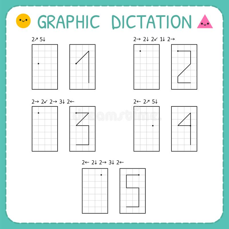 Free Graphic Dictation. Numbers 1-5. Kindergarten Educational Game For Kids. Preschool Worksheet For Practicing Motor Skills. Working Royalty Free Stock Photography - 148768507