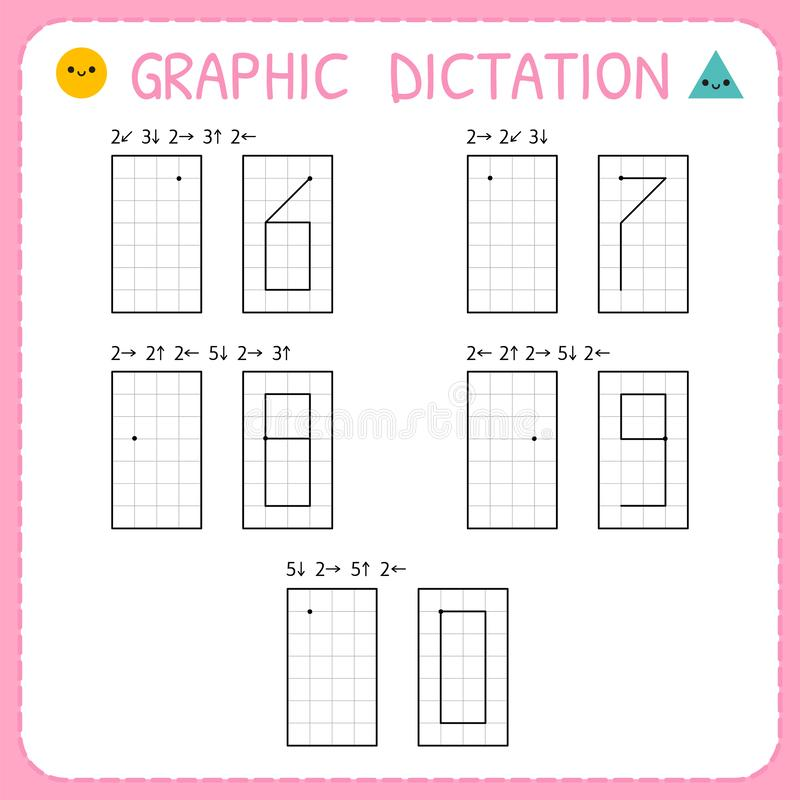 Free Graphic Dictation. Numbers 6-0. Kindergarten Educational Game For Kids. Preschool Worksheet For Practicing Motor Skills. Working Royalty Free Stock Images - 148768099
