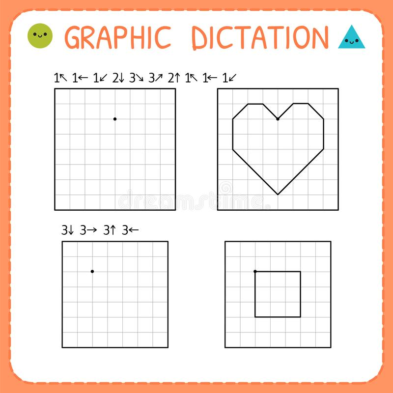 Free Graphic Dictation. Preschool Worksheet For Practicing Motor Skills. Kindergarten Educational Game For Kids. Working Pages For Royalty Free Stock Photos - 148767988