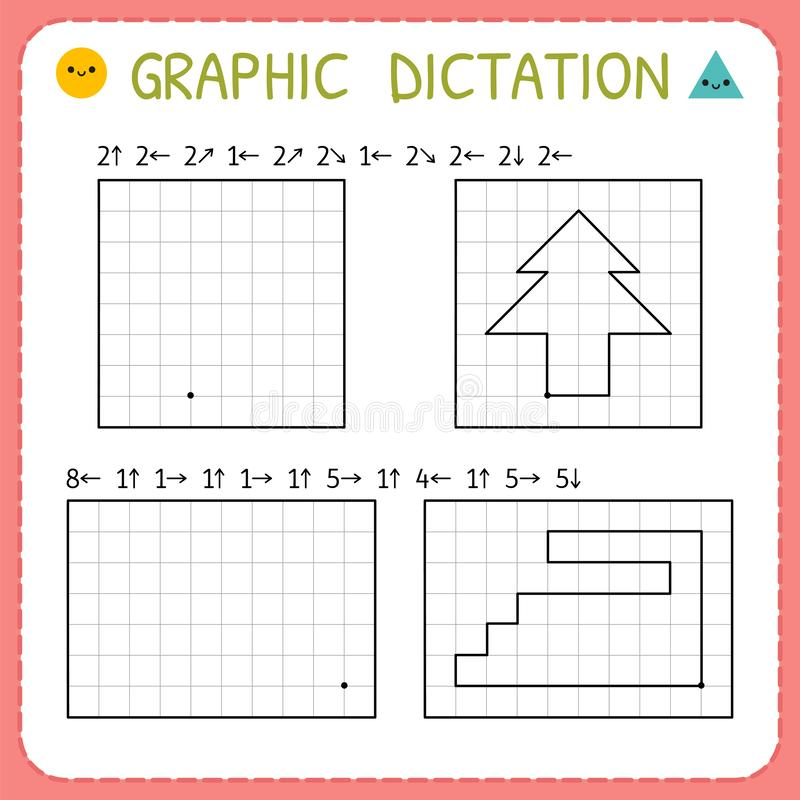 Free Graphic Dictation. Preschool Worksheets For Practicing Motor Skills. Kindergarten Educational Game For Kids. Working Pages For Stock Photography - 148768852