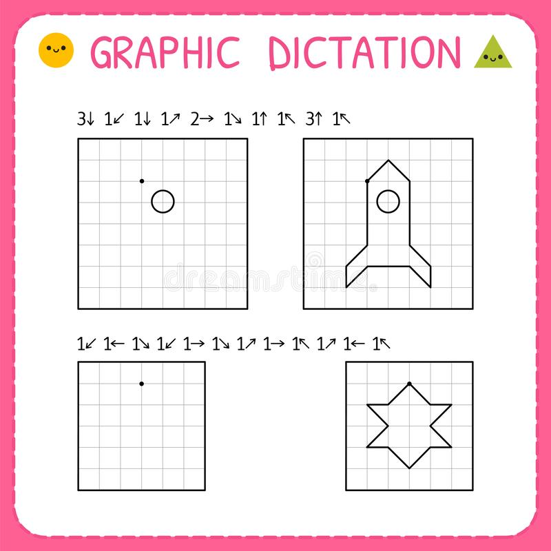 Free Graphic Dictation. Working Pages For Children. Kindergarten Educational Game For Kids. Preschool Worksheet For Practicing Motor Royalty Free Stock Photos - 148768158