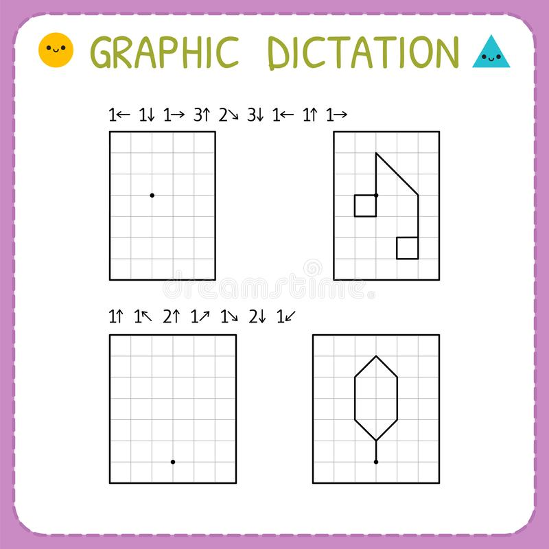 Free Graphic Dictation. Working Pages For Children. Preschool Worksheet For Practicing Motor Skills. Kindergarten Educational Game For Royalty Free Stock Photos - 148768668