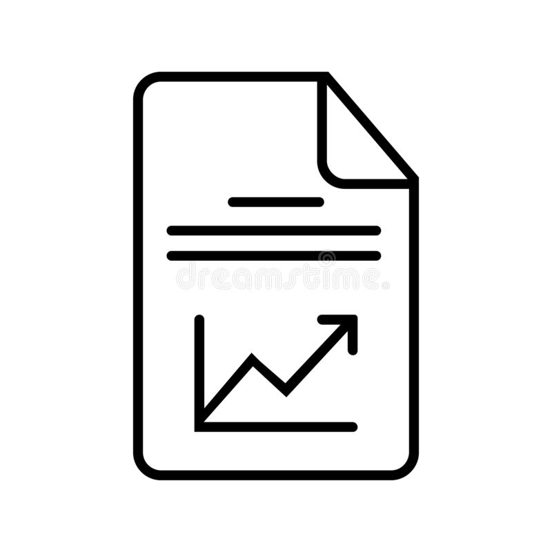 Graphic document or report with chart icon vector. Paper reporting illustration symbol. analysis symbol. For web stock illustration